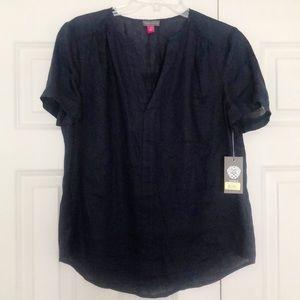 Vince Camuto Linen V-Neck Short Sleeve Top Medium